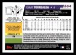 2006 Topps #564  Yorvit Torrealba  Back Thumbnail