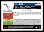 2006 Topps #643   -  Willie Eyre Rookie Card Back Thumbnail