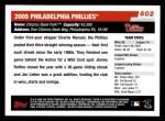 2006 Topps #602   Philadelphia Phillies Team Back Thumbnail