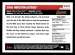 2006 Topps #606   Houston Astros Team Back Thumbnail