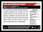 2006 Topps #613   San Francisco Giants Team Back Thumbnail