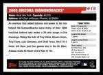 2006 Topps #615   Arizona Diamondbacks Team Back Thumbnail