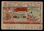 1956 Topps #21  Joe Collins  Back Thumbnail