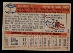 1957 Topps #4  Johnny Logan  Back Thumbnail