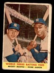 1958 Topps #418   -  Mickey Mantle / Hank Aaron World Series Batting Foes   Front Thumbnail