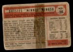 1954 Bowman #38 ALL Minnie Minoso  Back Thumbnail