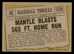 1961 Topps #406   -  Mickey Mantle Blasts 565 Ft Home Run Back Thumbnail