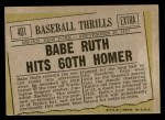 1961 Topps #401   -  Babe Ruth Baseball Thrills Back Thumbnail