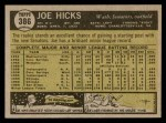 1961 Topps #386  Joe Hicks  Back Thumbnail