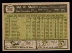 1961 Topps #242  Hal W. Smith  Back Thumbnail