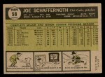 1961 Topps #58  Joe Schaffernoth  Back Thumbnail