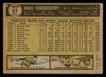 1961 Topps #57  Marv Throneberry  Back Thumbnail