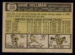 1961 Topps #326  Dave Hillman  Back Thumbnail