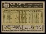 1961 Topps #315  Earl Battey  Back Thumbnail