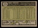 1961 Topps #270  Bob Friend  Back Thumbnail