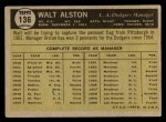 1961 Topps #136  Walter Alston  Back Thumbnail