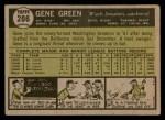 1961 Topps #206  Gene Green  Back Thumbnail