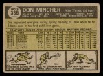 1961 Topps #336  Don Mincher  Back Thumbnail