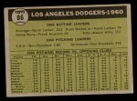 1961 Topps #86   Dodgers Team Back Thumbnail