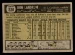 1961 Topps #338  Don Landrum  Back Thumbnail