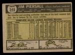 1961 Topps #345  Jimmy Piersall  Back Thumbnail
