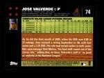 2007 Topps #74  Jose Valverde  Back Thumbnail