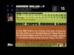 2007 Topps #15  Andrew Miller  Back Thumbnail