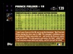 2007 Topps #139  Prince Fielder  Back Thumbnail
