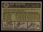 1961 Topps #336  Don Mincher  Back Thumbnail