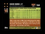 2007 Topps #164  Zach Duke  Back Thumbnail
