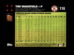 2007 Topps #116  Tim Wakefield  Back Thumbnail
