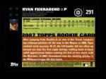 2007 Topps #291  Ryan Feierabend  Back Thumbnail