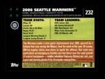 2007 Topps #232   Seattle Mariners Back Thumbnail