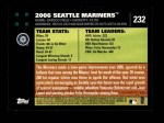 2007 Topps #232   Seattle Mariners Back Thumbnail