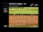 2007 Topps #271  Delwyn Young  Back Thumbnail