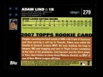 2007 Topps #279  Adam Lind  Back Thumbnail