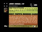 2007 Topps #284  Jerry Owens  Back Thumbnail