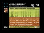 2007 Topps #213  Josh Johnson  Back Thumbnail