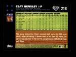 2007 Topps #218  Clay Hensley  Back Thumbnail