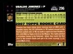 2007 Topps #296  Ubaldo Jimenez  Back Thumbnail