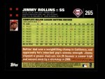 2007 Topps #265  Jimmy Rollins  Back Thumbnail