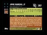 2007 Topps #287  Jose Garcia  Back Thumbnail