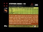 2007 Topps #285  Stephen Drew  Back Thumbnail