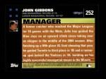 2007 Topps #252  John Gibbons  Back Thumbnail