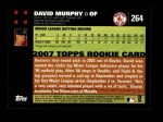 2007 Topps #264  David Murphy  Back Thumbnail