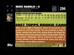 2007 Topps #294  Mike Rabelo  Back Thumbnail
