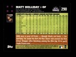2007 Topps #290  Matt Holliday  Back Thumbnail