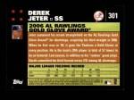 2007 Topps #301   -  Derek Jeter Golden Glove Back Thumbnail