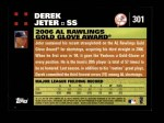 2007 Topps #301   -  Derek Jeter Golden Glove Back Thumbnail
