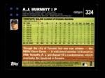 2007 Topps #334  A.J. Burnett  Back Thumbnail